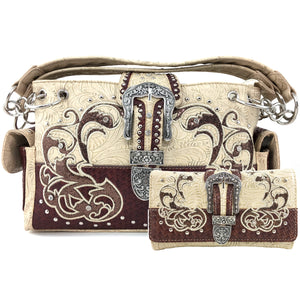 Floral Gleaming Weave Pattern Buckle Handbag Wallet Set
