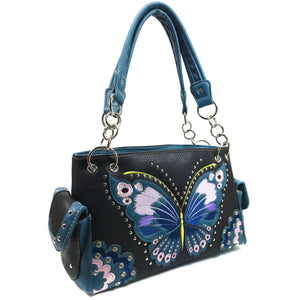 Peacock Butterfly Floral Embroidery Handbag