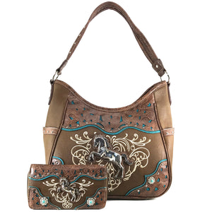 American Horse Tooled Tote Purse Wallet Set