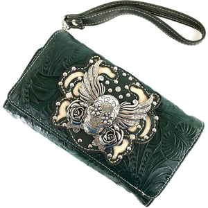 Original Sugar Skull Rose Wings Floral Carving Wallet