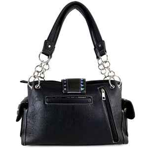 Abstract Butterfly Color Buckle Studded Handbag