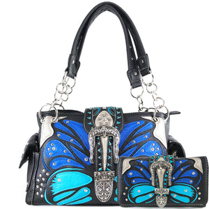 Abstract Butterfly Color Buckle Studded Handbag Wallet Set