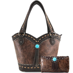 Dixie Turquoise Concho Fringe Tote Purse Wallet Set