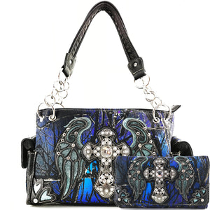Camouflage Bling Shine Cross Wings Handbag Wallet Set