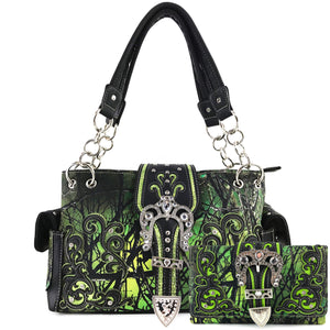 Camouflage Bling Shine Floral Buckle Handbag Wallet Set