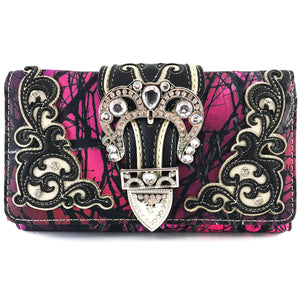 Camouflage Bling Shine Floral Buckle Wallet