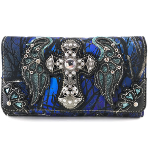 Camouflage Bling Shine Cross Wings Wallet