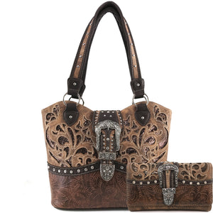 Gleam Cut Tooled Buckle Tote Purse Wallet Set