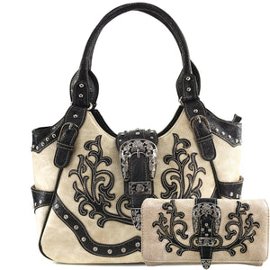 American Albino Floral Buckle Tote Purse Wallet Set