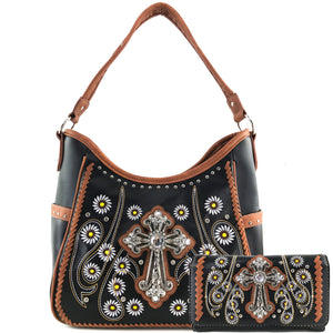 Daisy Flower Garden Cross Tote Purse Wallet