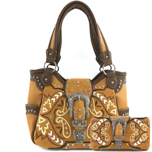 Spring Paisley Floral Buckle Tote Purse Wallet Set