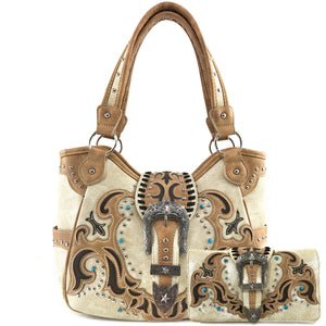 Longhorn Buckle Western Studded Tote Purse Wallet Set