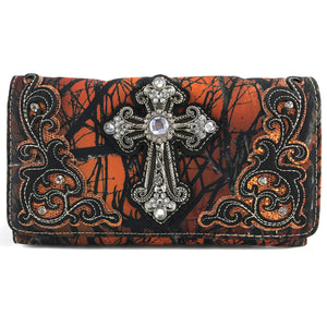 Camouflage Bling Shine Floral Cross Wallet