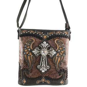 Cross Angel Wings Floral Imprint Crossbody