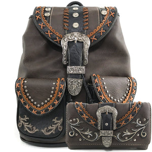 Western Floral Buckle Rucksack Backpack Wallet Set