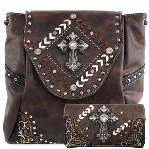Western Cross Square Rucksack Backpack Wallet Set