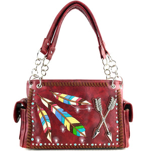 Colorful Native Feather Arrows Handbag