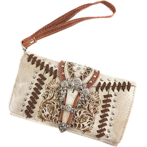 Fern Leaves Buckle Embroidery Wallet
