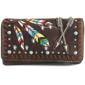 Colorful Native Feather Arrows Wallet