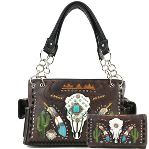 Longhorn Skull Feather Embroidery Handbag Wallet Set
