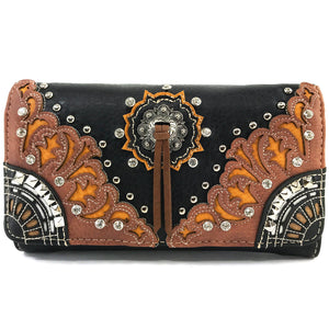 Autumn Oak Leaf Fringe Concho Wallet