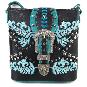 Damask Floral Embroidery Buckle Studded Crossbody