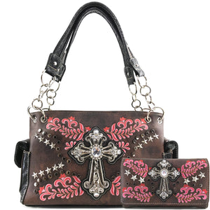 Damask Floral Embroidery Cross Studded Handbag Wallet Set