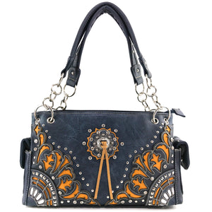 Autumn Oak Leaf Fringe Concho Handbag
