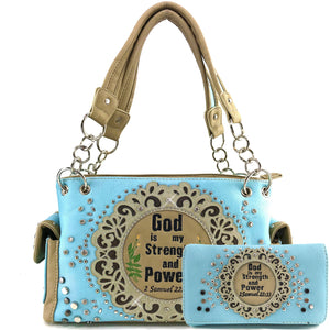 God is my Strength and Power Handbag Wallet Set