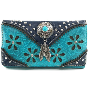 Floral Tooled Turquoise Concho Wallet