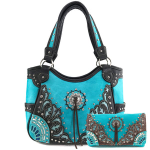 Autumn Oak Leaf Fringe Concho Tote Wallet Set