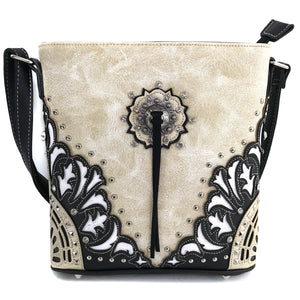 Autumn Oak Leaf Fringe Concho Crossbody
