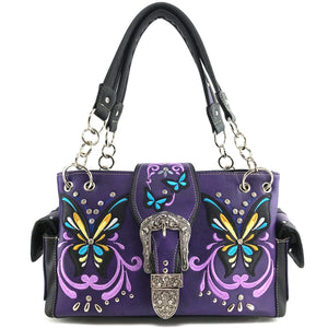Swallowtail Butterfly Buckle Studded Embroidery Handbag
