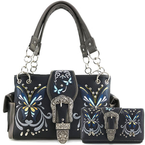 Swallowtail Butterfly Buckle Studded Embroidery Handbag Wallet Set
