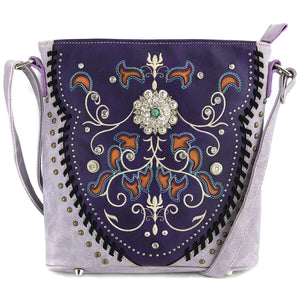 Swirly Vines Concho Embroidery Crossbody