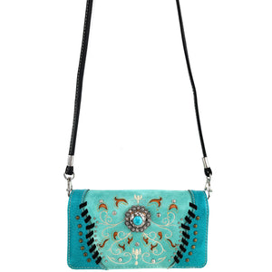 Swirly Vines Concho Embroidery Wallet