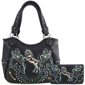 Poppy Flower Horse Tote Purse Wallet Set