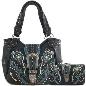Poppy Buckle Embroidery Tote Bag Wallet Set