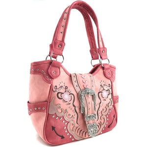Poppy Flower Buckle Tote Purse
