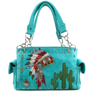 Indian Chieftain Headdress War Bonnet Embroidery Handbag