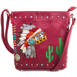Indian Chieftain Headdress War Bonnet Embroidery Crossbody