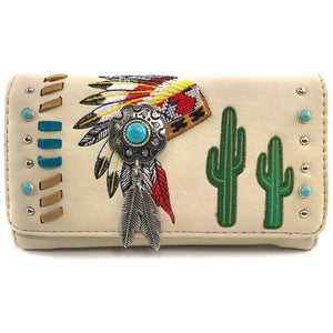 Indian Chieftain Headdress War Bonnet Embroidery Wallet