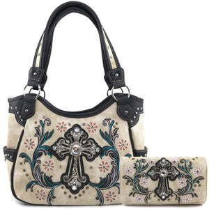 Blossom Floral Embroidery Cross Tote Wallet Set