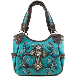 Blossom Floral Embroidery Cross Tote