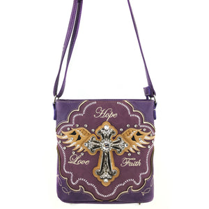 Hope Love Faith Cross Wings Crossbody