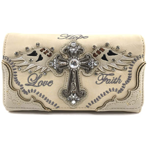 Hope Love Faith Cross Wings Wallet