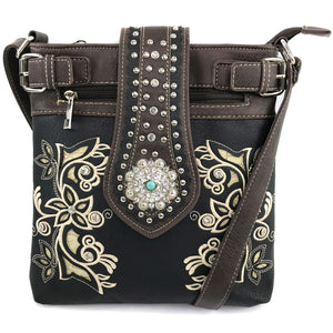 Floral Bloom Embroidery Concho Crossbody