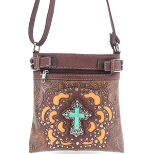 Original Cross Turquoise Floral Carving Crossbody