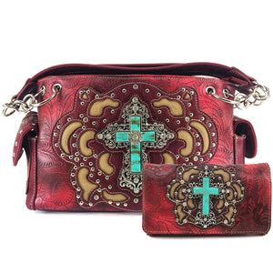 Original Cross Turquoise Floral Carving Handbag Wallet Set
