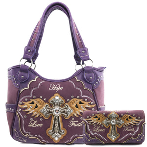 Hope Love Faith Cross Wings Tote Purse Wallet Set